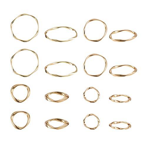 PandaHall 32 anillos de enlace de aleación de metal con círculos de metal de 4 tamaños para pendientes, collares, pulseras y bisutería (0,5', 0,6', 1', 1.4')