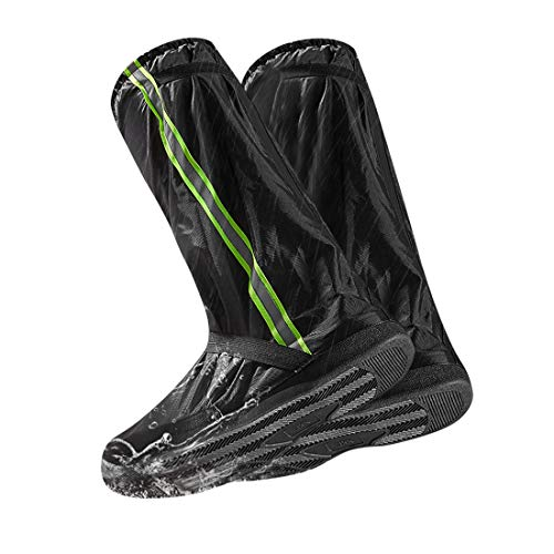 LAMA Wasserdicht Überschuhe rutschfest Galoschen Wiederverwendbar Schuhüberzieher Fahrrad Regenschutz Schuhe Bezüge Regenschuhe Regenüberschuhe mit Reflektorstreifen für Männer Frauen