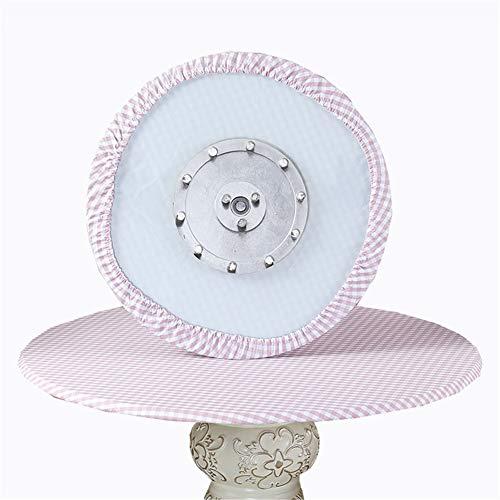 SYLC Mantel redondo impermeable antideslizante, mantel redondo para mesa circular, protector de mesa redondo resistente al calor y fácil de limpiar (rejilla pequeña rosa, 110 cm)