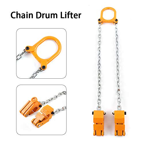 TUQI 2000 lbs Chain Drum Lifter Fiber Durable Vertical Hoist Drum Lifter (Yellow)