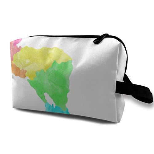 Bolsa de almacenamiento de lona de maquillaje de viaje, bolso de aseo portátil, pequeño organizador de cosméticos para niñas, mujeres, hombres, mapa del mundo para niños