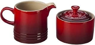 Le Creuset Stoneware Cream and Sugar Set, Cerise (Cherry Red)