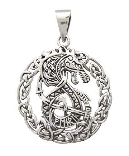 TreasureBay Colgante de dragón de plata de ley 925 intrincado estilo celta para hombre