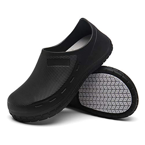 JSWEI Slip Resistant Chef Clogs for Kitchen Non Slip Comfortable Work Shoes for Men Black 38-45 Size Black 9.5