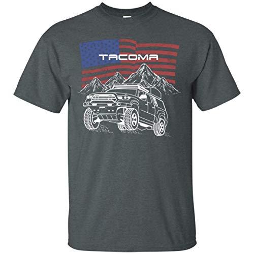 WheelSpinAddict Men's Tacoma Off-Road Overland USA Flag T-Shirt Dark Heather