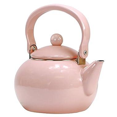 Calypso Basics by Reston Lloyd Enamel-on-Steel Tea Kettle, 2-Quart, Pink