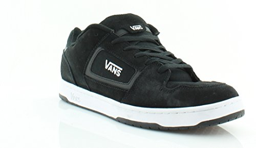 VANS Men Docket Skate Suede Leather Logo Shoes (9.5, Black/white)