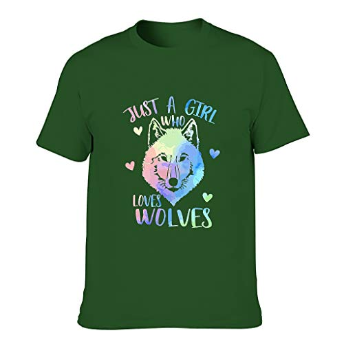STELULI Camiseta de algodón para hombre Just A Girl Loves Wolves Cool Individuality - Alfabeto de manga corta