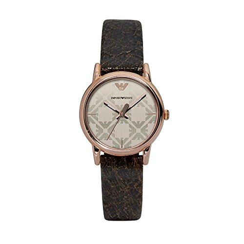 Emporio Armani - Reloj de Cuarzo para Mujer, Correa de Cuero Color marrón