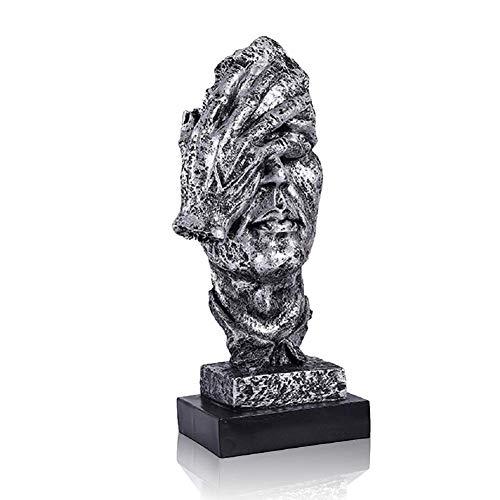 LEPENDOR Abstrakter und kreativer Schreibtisch Dekorationen Die Gesichtsdenker Statue, Handgefertigte Stille Männer Statuen Harz Abstrakte Skulptur Büro Home Decor Figur Geschenk - Kein See, Silber
