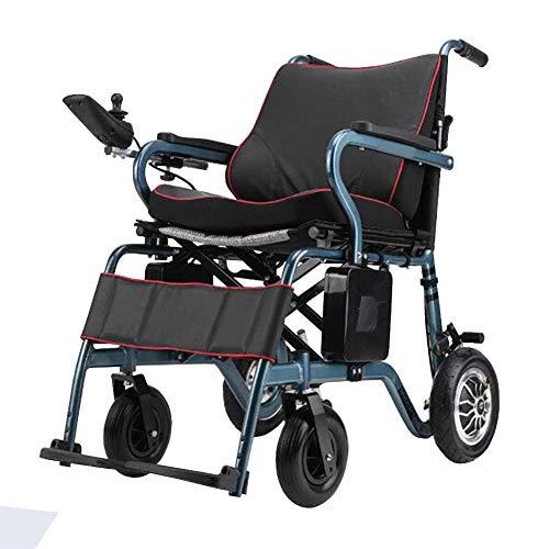 Ancianos Discapacitados Silla de Ruedas Eléctrica Plegable, Silla de Ruedas Ligera Portátil,...