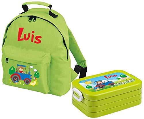 *Mein Zwergenland Set 1 Kindergartenrucksack Classic und Brotdose Lunchbox Maxi mit Name Traktor, 2-teilig, Grün*