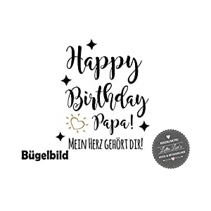 Bügelbild Geburtstag Bester Papa Happy Birthday in Flex, Glitzer, Flock, Effekt in Wunschgröße