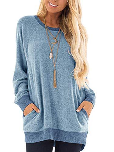 iChunhua Casual Damen Langarm Rundhals T-Shirt Sweatshirt Tops mit Taschen S-XXL Gr. 46, Sky Lue