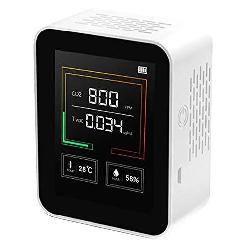 IWHTGD Luftqualität Messgerät CO2 Kohlendioxid Detektor 400-5000PPM Messbereich Intelligenter Lufttester mit Temperatur-Feuchtigkeits-Anzeige (Weiß)