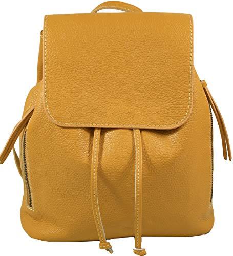 Ital. Echtleder Damen Rucksack Leichter Tagesrucksack Daypack Lederrucksack Damenrucksack versch. Farben erhältlich (Senfgelb)