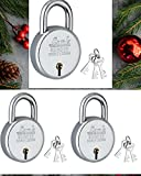 Round 65MM Double Locking Material: Stainless Steel Color: Silver Non-Interchangeable Keys 3 Locks With 9 Keys