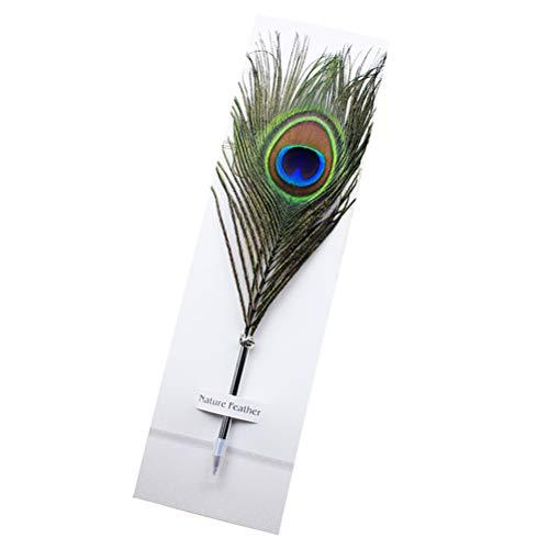 Toyandona feder stift vintage kugelschreiber hochzeit schreibfeder pfauenfeder für schulkind bürobedarf geschenk 2 stücke (grün)