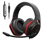 Jeecoo V22 Gaming Headset for PS4 PC Xbox One, Deep Bass Sound Over-Ear Headphones with Noise Cancelling Microphone, Big Soft Earcups, Compatible with Laptops Mobile and More