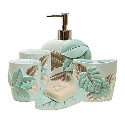 Soap Dispenser 5 piezas de accesorios de baño de resina Set - decoración de la hoja dispensador de la loción / vaso / cepillo de dientes titular / Jabonera tridimensional decoración del hogar regalo D