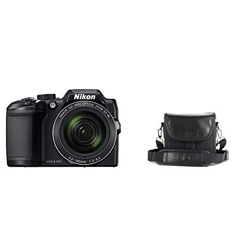 Nikon Coolpix B500 Fotocamera Digitale Compatta, 16 Megapixel, Zoom 40X, VR, LCD Inclinabile 3', FULL HD, Bluetooth, Wi-Fi, Nero & CS P08 Custodia per Coolpix Bridge Serie P500