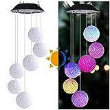 VNEIRW Solar Windspiele Kugel Licht Color-Changing 6 LEDs Hängelampe Lichterkette Kristalle Pendelleuchten für Garten, Veranda Dekoration, Balkon (Bunt)