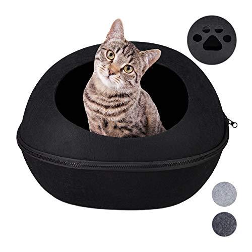 Relaxdays Katzenhöhle Filz, Moderne Filzhöhle für Katzen & kleine Hunde, Kissen, 2 in 1 Katzenbett, 10027964_46,1 Stück, schwarz