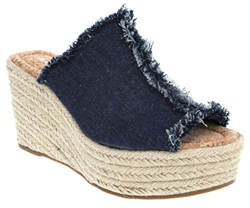 Rampage Women's Halper Slide On Espadrille Platform Wedge Sandal 9 Dark Denim