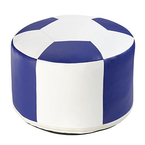 Linke Licardo Fußball-Sitzkissen Ø 50/34 cm, Kunstleder Weiss/blau-