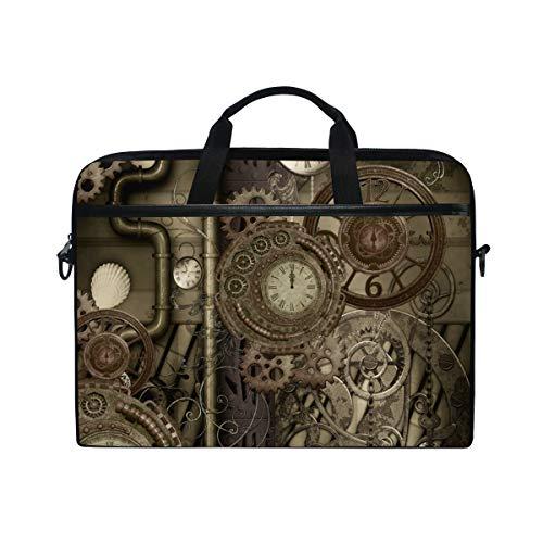 LOSNINA 15-15.4 inch Laptop Tasche,Steam Punk Design Uhren Zahnräder 3D,Neue Leinwand Drucken Muster Aktentasche Laptop Schulter Messenger Handtasche Case Sleeve