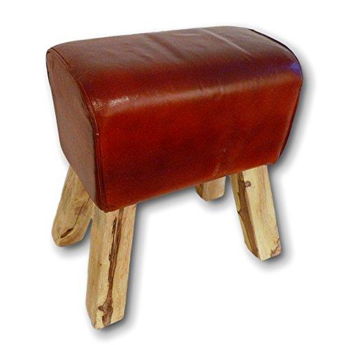 Retro Springbock Sitzhocker Hocker Polster-Hocker Fußhocker Massivholz mit Echtleder Leder Holz