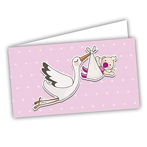 Storch Favour Cards – Taufe Geburt Geburtstag 60 vorgestanzte Stücke – Druck auf der Innenseite mit Links und Testblatt, um Sie falsch zu halten.