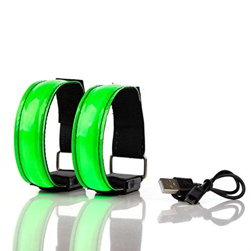 BRACCIALETTO LED RICARICABILE USB Catarifrangente – Luci Segnalazione Alta Visibilità per Corsa, Running, Jogging, Ciclismo, 3 modalità luminose di Sicurezza (Set 2 Pezzi) (verde)