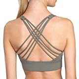 Blue Aces Strappy Sports Bra for Yoga, Running, Pilates, Fitness, HIIT Workouts & Cute Active Women (6, Olive Green)