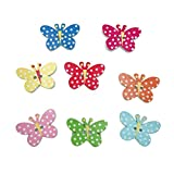 Healifty 50 Pezzi Bottoni in Legno 2 Fori Motivo a Farfalla Bottoni Simpatici Accessori per Vestiti Stampati per Decorazioni Fai da Te Scrapbook (Colore Misto)