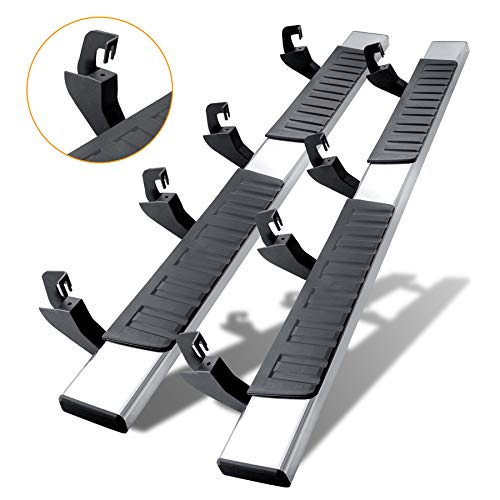 N-X 6 Inches Running Boards(Including in 8 Brackes and Plastic Covers) & Steps for 2007-2018 Silverado/Sierra Crew Cab,A Pair Running Boards for Silverado Crew cab