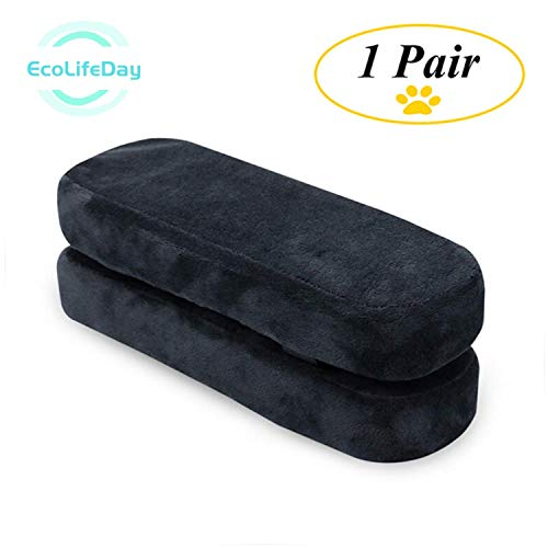 EcoLifeDay Chair armrest Pads Foam Elbow Pillow Pressure Relief armrest Pads 2-Piece Set of Office Chair armrest Best Furniture Accessories Memory Foam Chair armrest Increase Comfort with Desk Chair