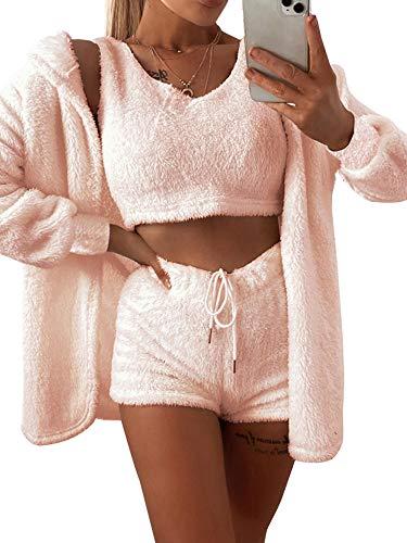 MINASAN Damen Sexy Fuzzy Warm Sherpa Fleece 3-teiliges Outfit Fleece Mantel Jacke Outwear und Spaghettiträger Crop Top Shorts Set (Rosa, M)