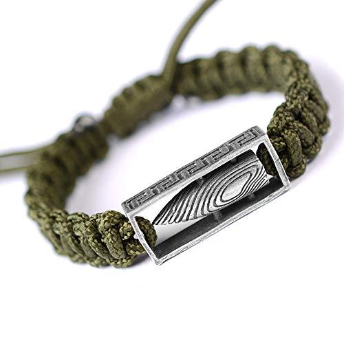TONGS 925 Silbernes Armband Retro Männer Die Alten Handwerk Regenschirm Seil Lanyard Militärischen Fans Zu Tun Kunstdekoration/Armeegrün/dehnbar