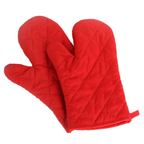 Veewon 1 Pair Baking Gloves Thick Heat Resistant Insulation Heat Proof Cotton Oven Glove Pot Holder Cooking Mitts Kitchen Essential (Red)