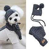 sakulala Conjunto de Bufanda de Sombrero de Punto cálido de Invierno para Mascotas, Accesorios Divertidos de Gorra de Perro para Mascotas para Cachorros, Perros pequeños, Rojo, Gris