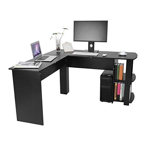 Mesa de Ordenador Escritorio de Esquina Negro, combinación de Esquina Escritorio Grande Mesa de PC en Forma de L Escritorio de Esquina, Mesa de Oficina Mesa de Trabajo para Oficina en casa