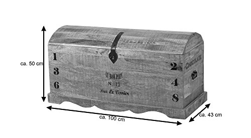 SIT-Möbel Rustic 1991-04 Truhe mit 1 Klappe, aus Mangoholz, Antik, braun, Wortprints, 100 x 43 x 50 cm - 3