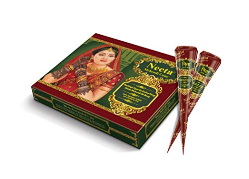 Neeta Mehendi-Henna Cone for Temporary Tattoos and Body Art 12pc in 1 box, All Natural Herbal Ingredients and Chemical Dye Free No PPD, No Side Effects Made from Pure Henna (Pack of 1)