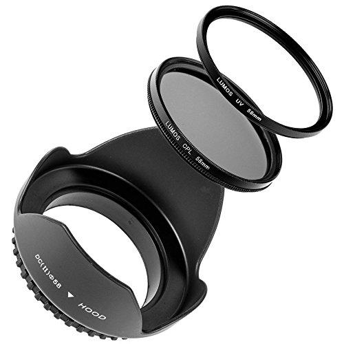 LUMOS Creative Zubehör Filter-Set für Kamera Objektiv mit 58mm Filtergewinde | Gegenlichtblende CPL Polfilter UV-Filter Ø 58 mm