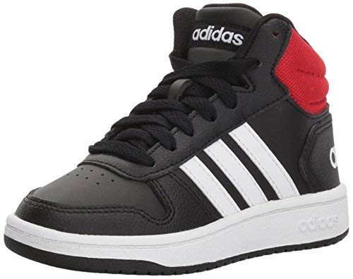 adidas unisex child Hoops Mid 2.0 Basketball Shoe, Black/White/Red, 4 Big Kid US