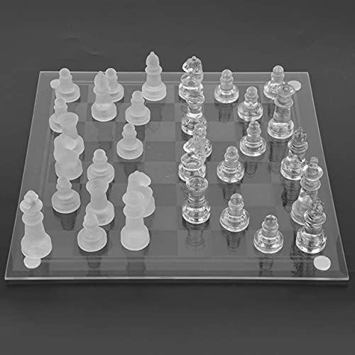 MARLU Luxury Velas Cristal Pequeño, Glass Chess Tablero Ajedrez Cristal, Piezas Ajedrez Cristal, para Adultos, Amigos, Entretenimiento, Actividades Familiares, Niños Regalos,20CM×20CM