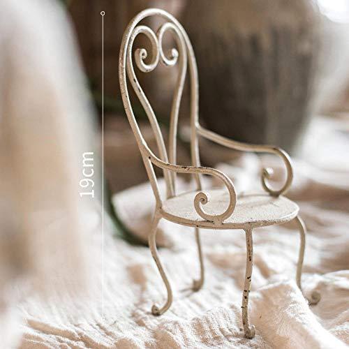 QAZWSX Eisenstuhl, dekorative Verzierungen, Miniblumenstand, Gemüsegarten, Vintage Puppenstützen, Geschenke@Eisen Kleiner Stuhl Dekoration