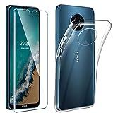 Tasch HYMY Nokia G50 5G Hülle (6.82 Zoll) + Panzerglas für Nokia G50 5G Schutzfolie - Transparent Schutzhülle TPU Handytasche Bildschirmschutzfolie Glas-Clear