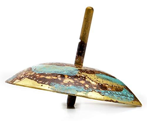 Turqouise Brass Striped Dreidel Hanukkah Spinning Top, Jewish Gift Collectible Artisan Judaica